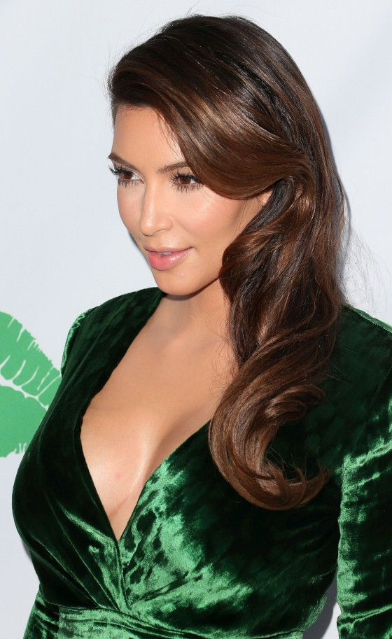 Kim Kardashian - In Green Dress at Midori Makeover Parlour in Santa Monica