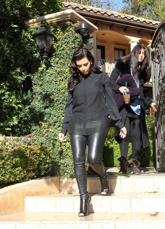 Kim Kardashian In Leather Pants leaves her house in Beverly Hills