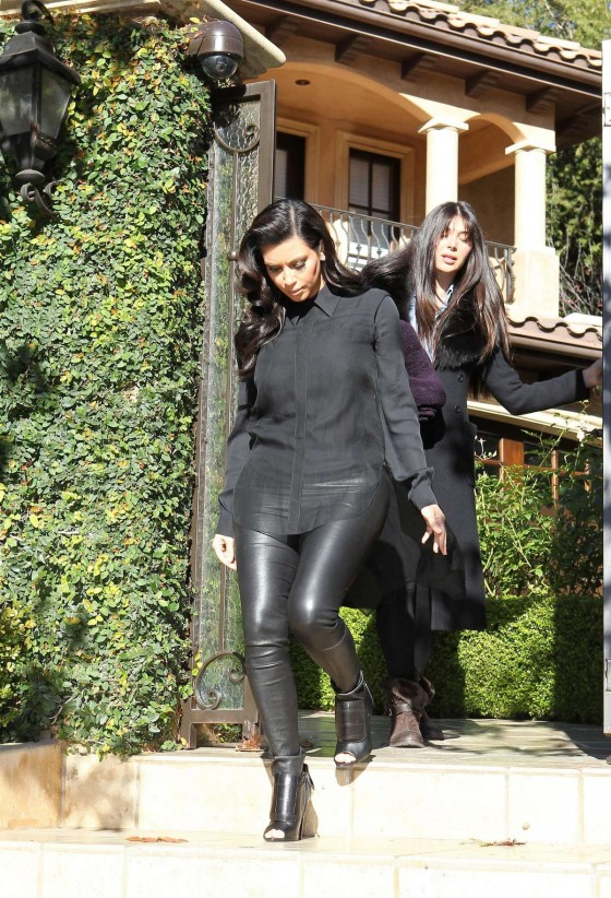 Kim Kardashian In Black Leather Pants leaves her house in Beverly Hills for LAX