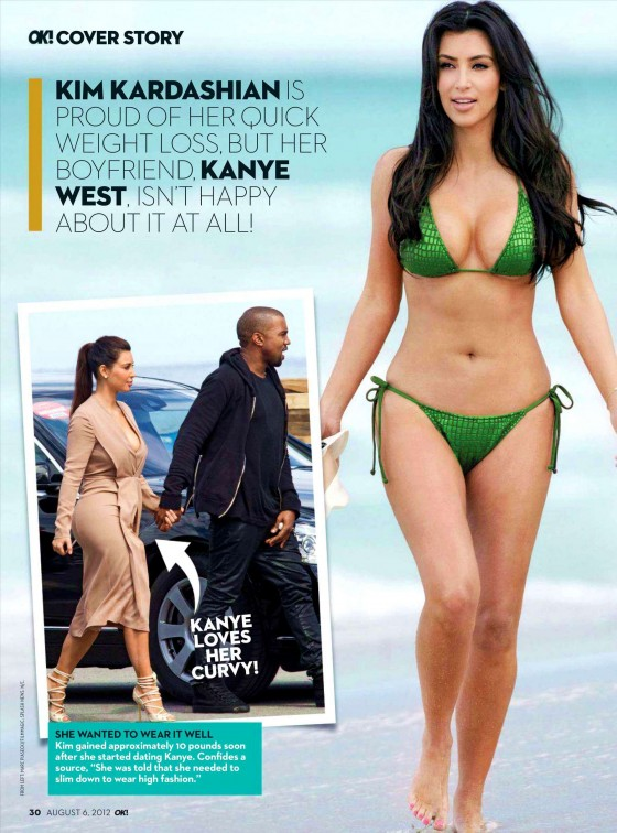 Kim Kardashian in Green and Pink Bikinis for OK Magazine