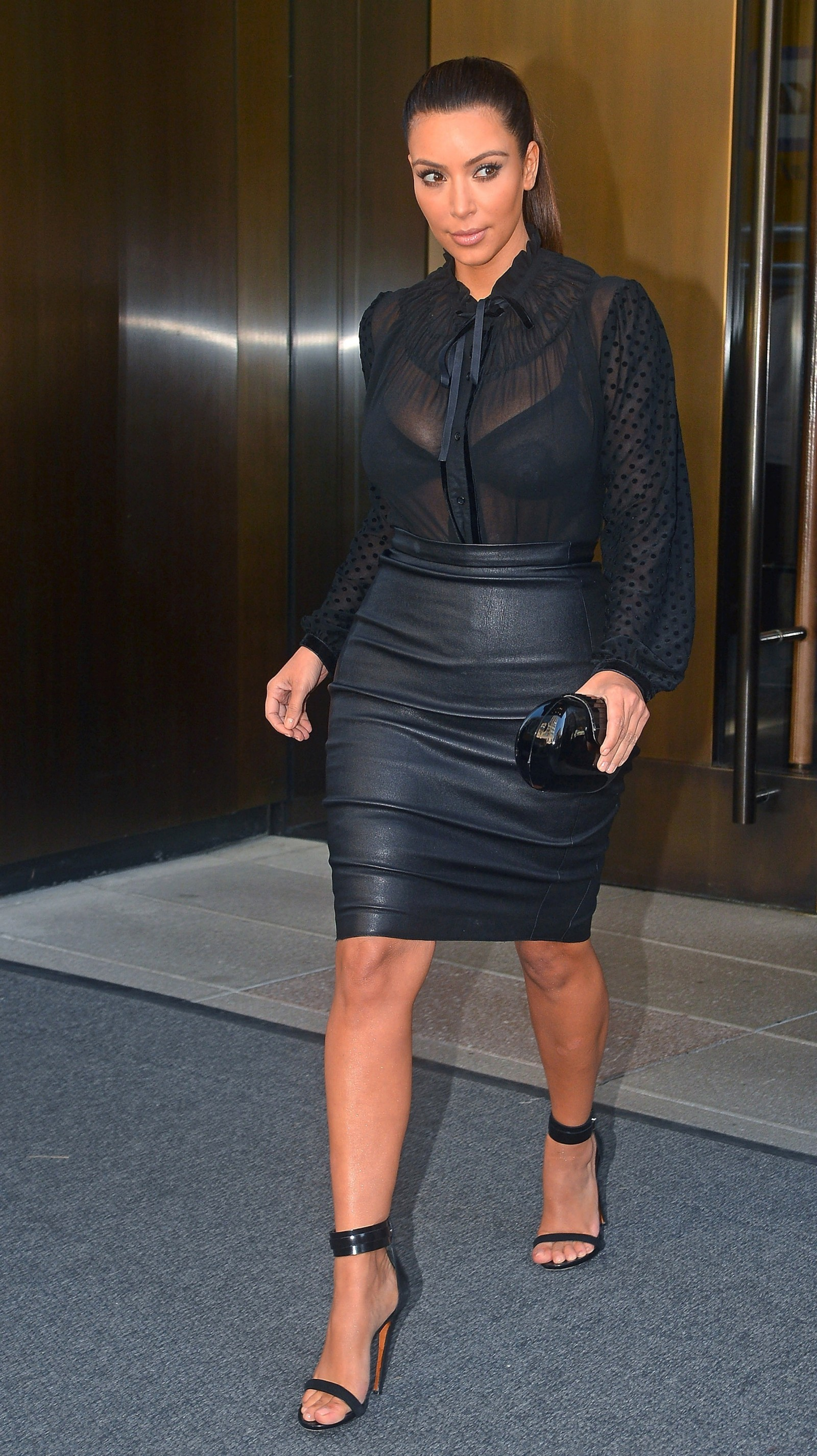 Kim Kardashian - In Tight Leather Skirt-05 - GotCeleb