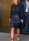 Kim Kardashian - Shows legs In Tight Leather Skirt in New York