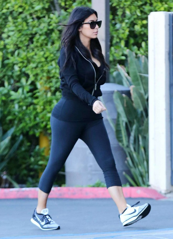Kim Kardashian in Tights out In Woodland Hills