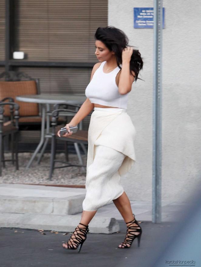 Kim Kardashian in White Skirt Leaving Bunim/Murray Production Studio in Van Nuys