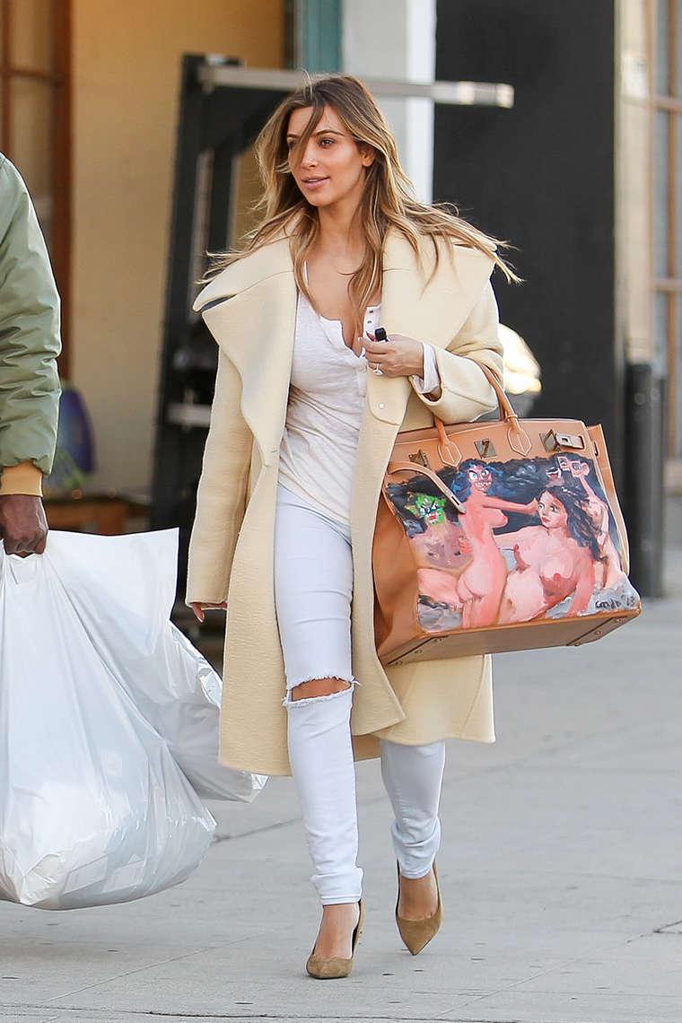Kim Kardashian New Handpainted Birkin Bag 14 Gotceleb