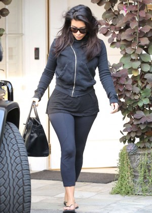 Kim Kardashian in Black Leggings out in Beverly Hills