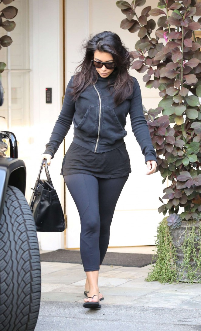 Kim Kardashian in Black Leggings out in Beverly Hills