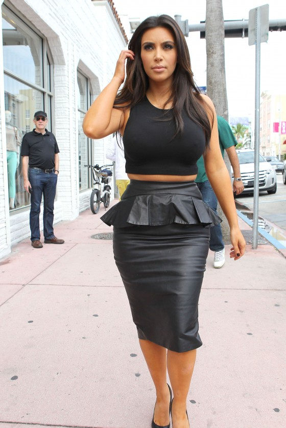 Kim Kardashian in black out in Miami
