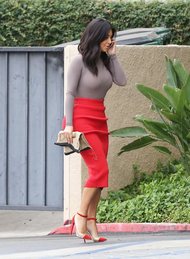 Kim Kardashian in Red Skirt -01