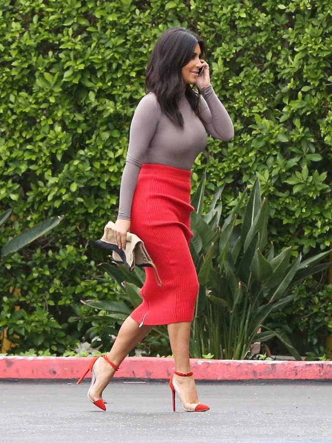 Kim Kardashian in Red Skirt -02