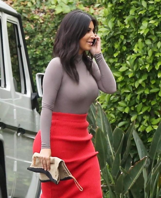 Kim Kardashian in Red Skirt -08