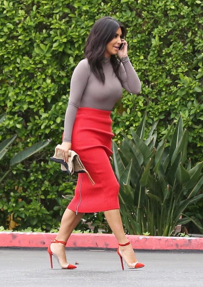 Kim Kardashian in Red Skirt -10