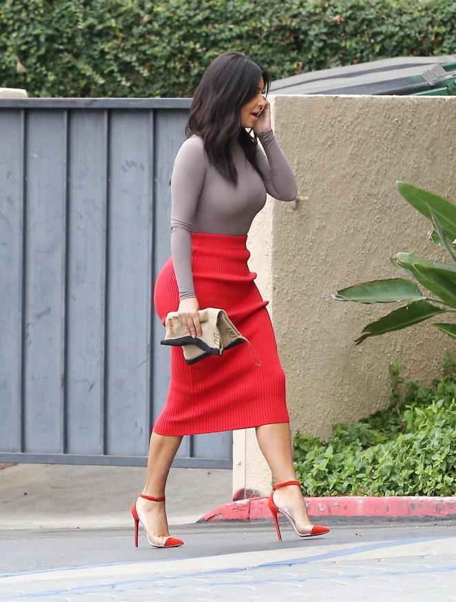 Kim Kardashian in Red Skirt -11