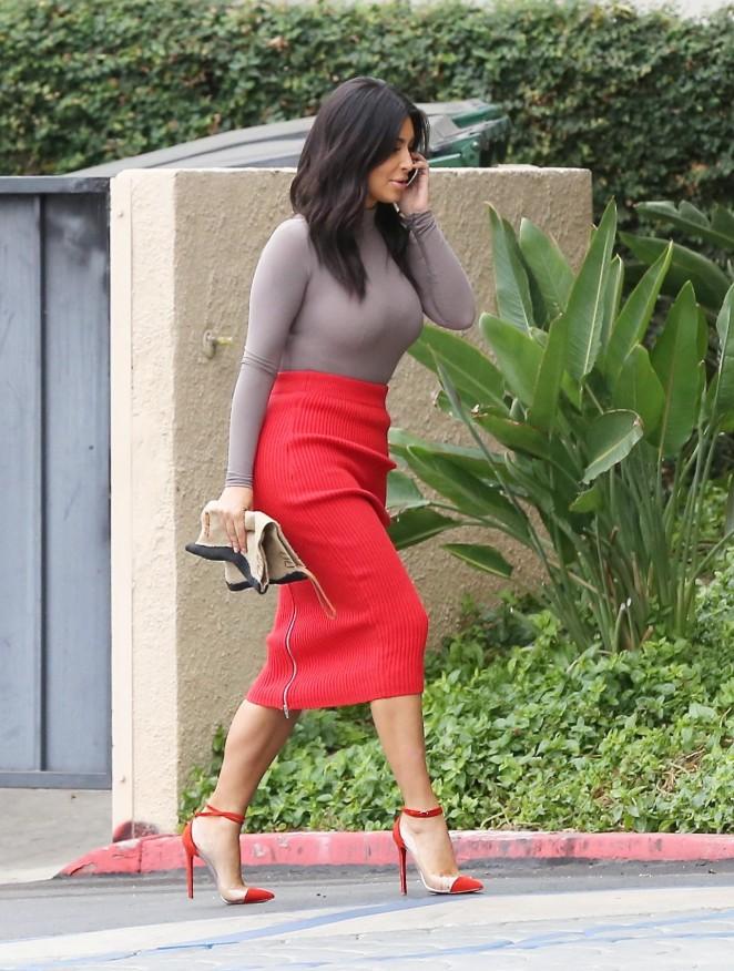 Kim Kardashian in Red Skirt -19