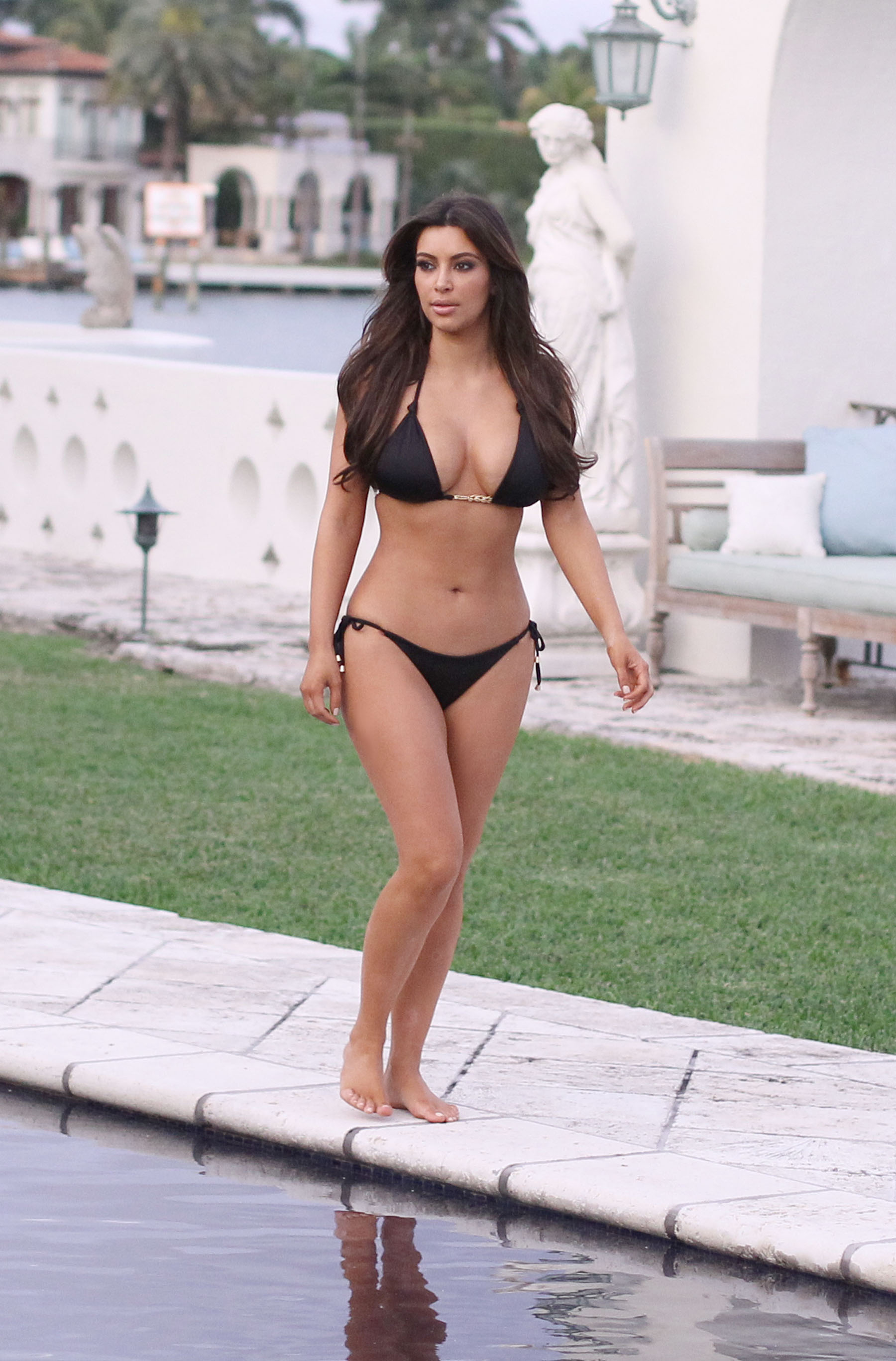 Kim Kardashian bikini at her friend Loren Ridingers mega mansion-18