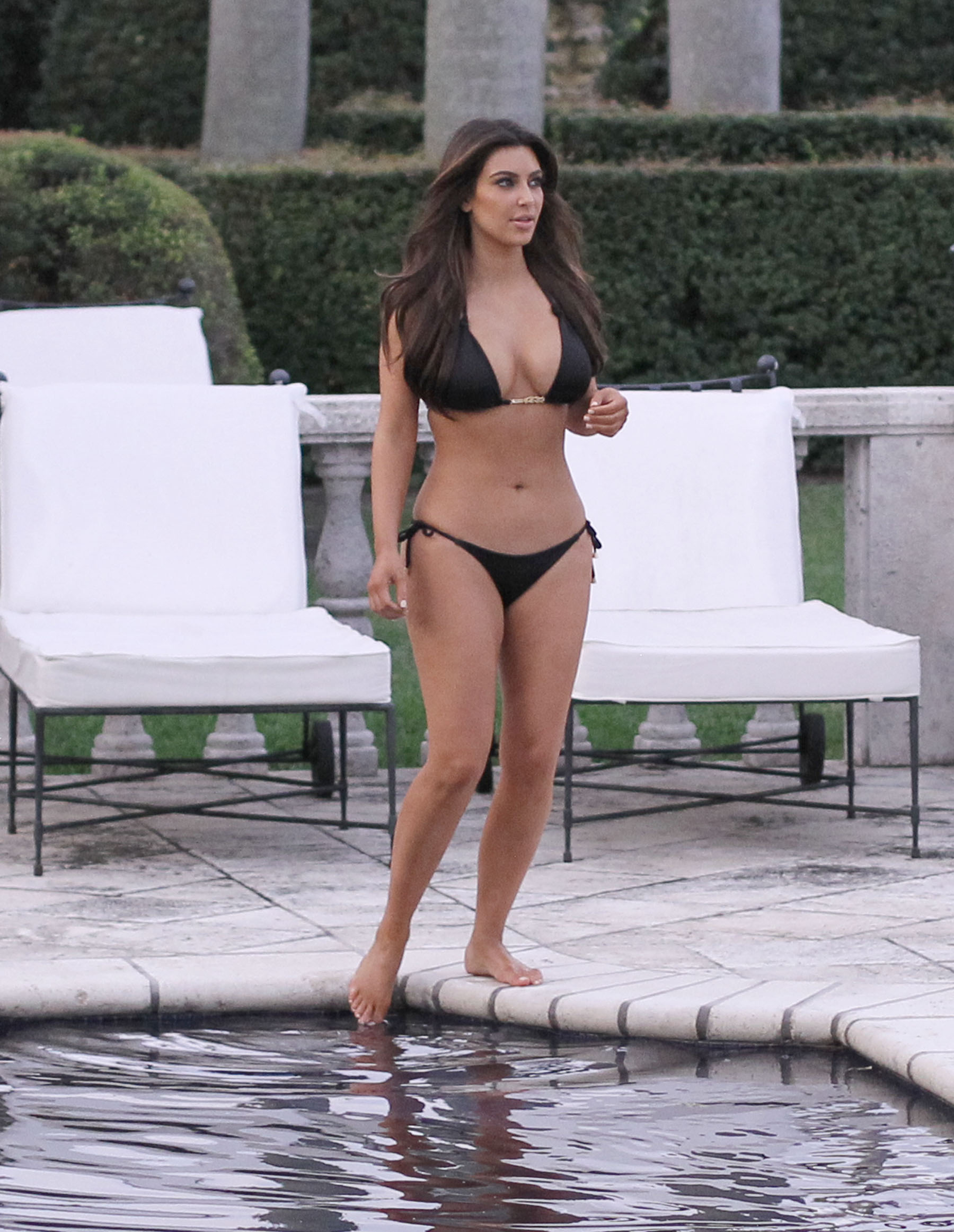 Kim Kardashian bikini at her friend Loren Ridingers mega mansion-19