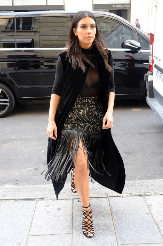 Kim Kardashian Street Styles - out in Paris