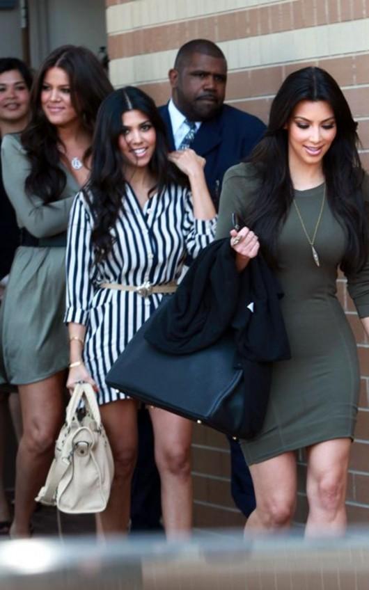 Kim, Khloe and Kourtney Kardashian at John Wayne Airport