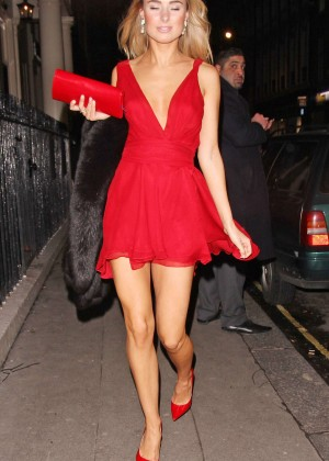 Kimberley Garner Hot in red dress at Langham Hotel -06