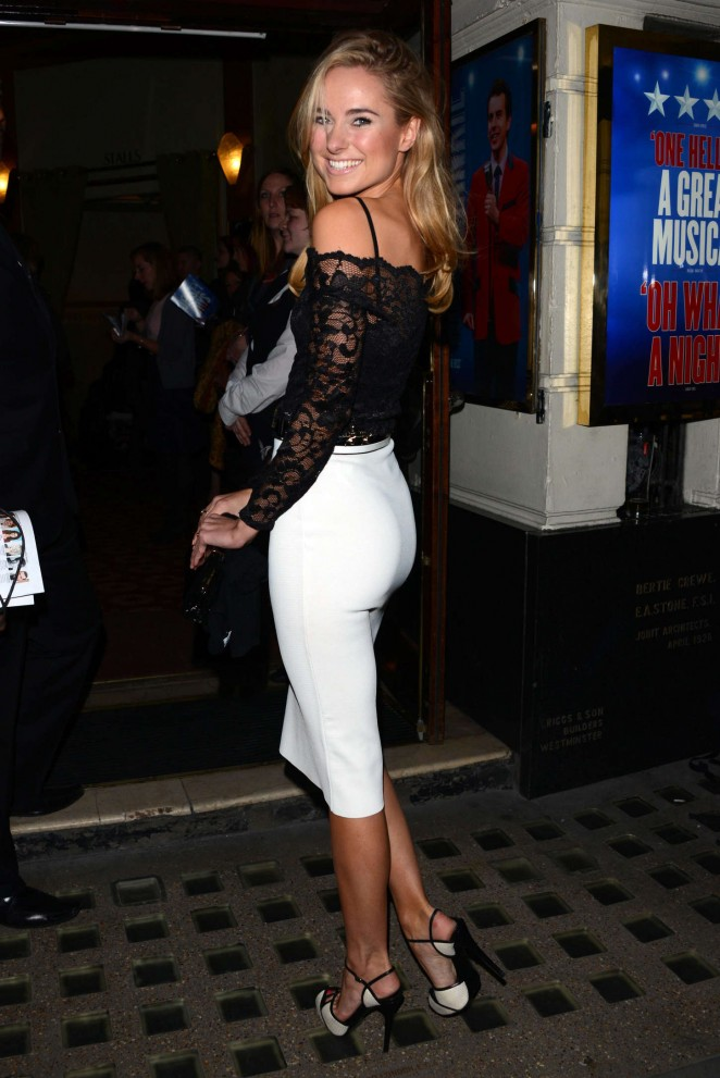 Kimberley Garner in Tight Skirt at Piccadilly Theatre in London