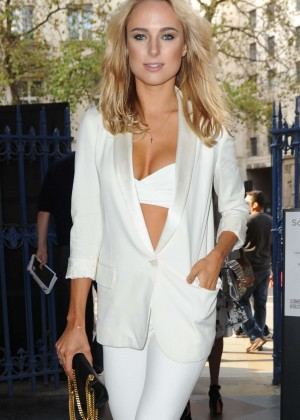 Kimberley Garner in White at Somerset House for London Fashion Week