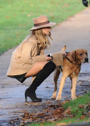 Kimberley Garner - Walking her dog in London