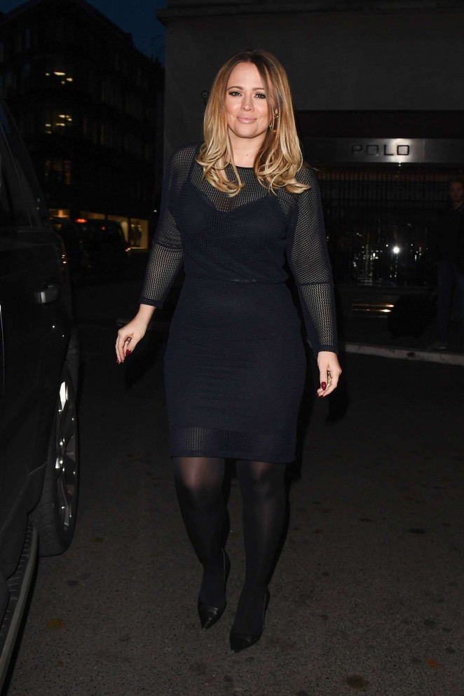 Kimberley Walsh in Black Mini Dress - Outside the Westbury Hotel in London