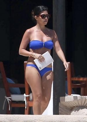 Kourtney Kardashian in blue bikini -07