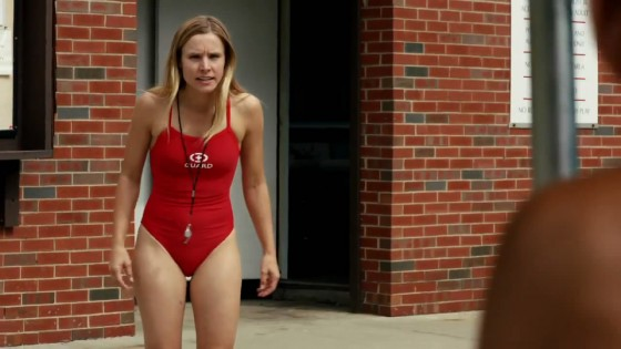 Kristen Bell – Wearing a Red Swimsuit in The Lifeguard Trailer