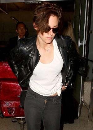 Kristen Stewart in Tight Jeans Back at LAX in LA