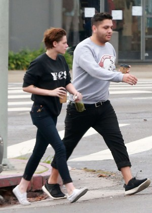 Kristen Stewart in Jeans Grabbing coffee with a friend in Los Feliz