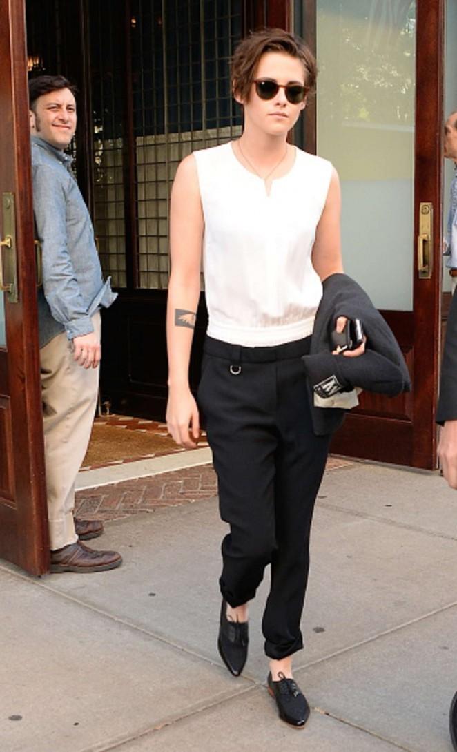 Kristen Stewart in Black Pants Leaving her hotel in NYC