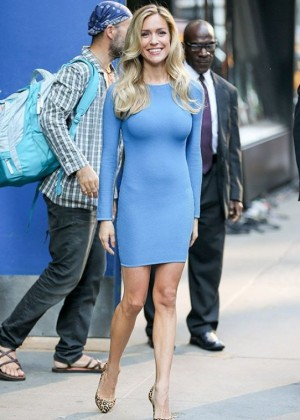 Kristin Cavallari in Blue Dress Appeared on Good Morning America in NYC