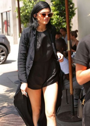 Kylie Jenner in Black at Urth Caffe in West Hollywood
