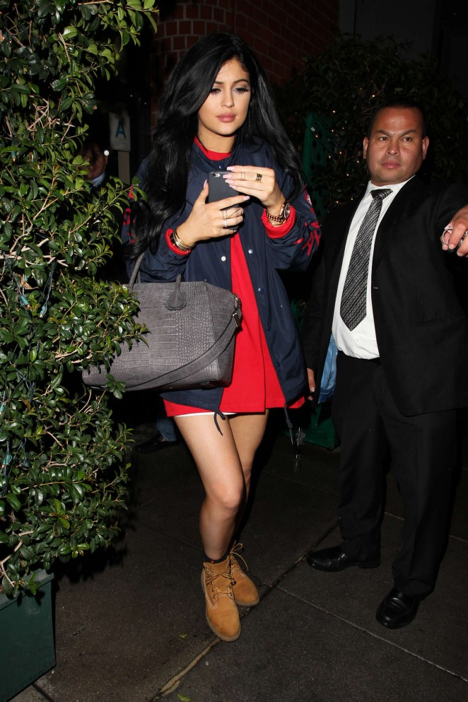 Kylie Jenner in Mini Dress Leaving Mr. Chows in Beverly Hills
