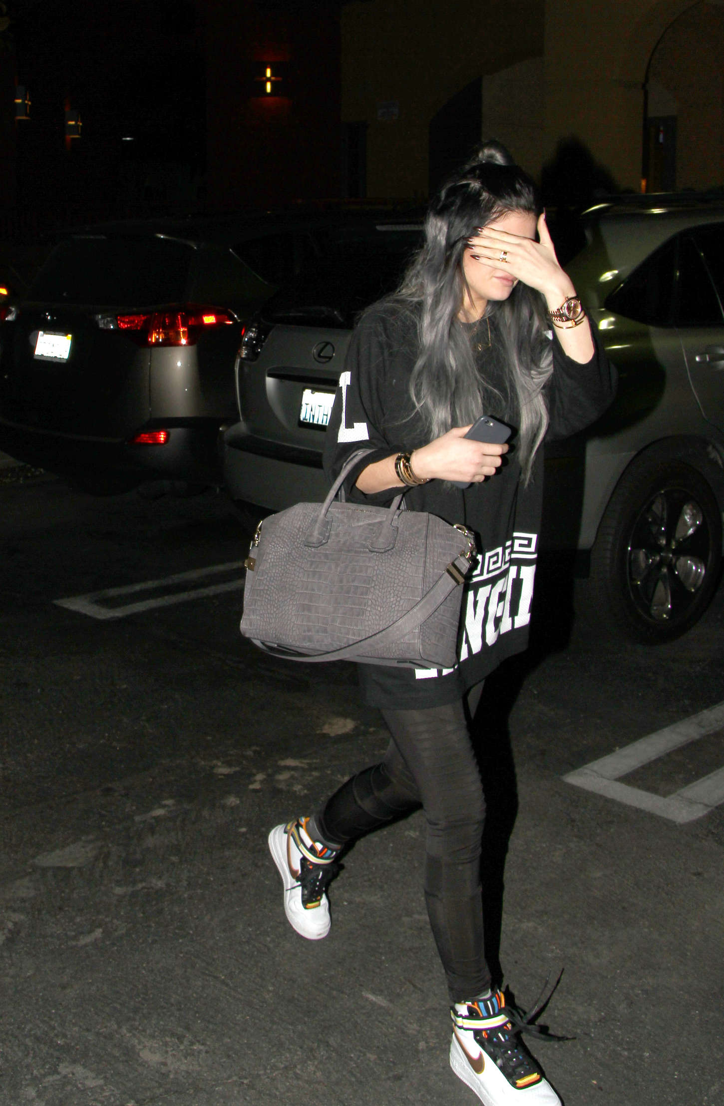Kylie Jenner in Spandex Leaving the Regency Movie Theatre in Agoura Hills