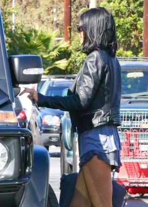 Kylie Jenner in Denim Shorts Leaving Vons Market in Woodland Hills