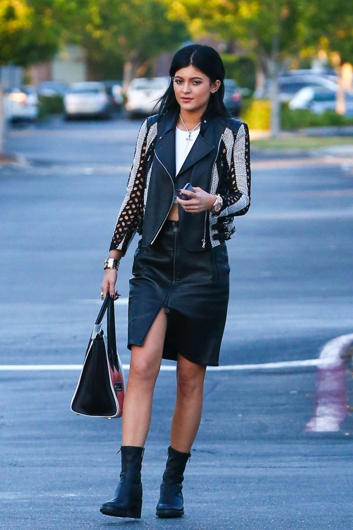 Kylie Jenner in Leather Skirt out in Calabasas