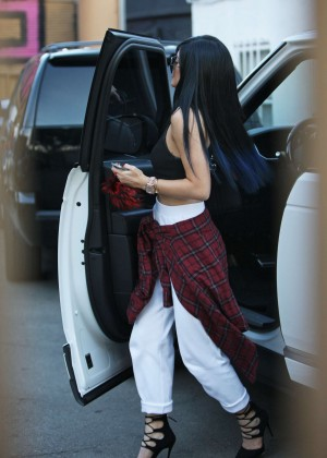Kylie Jenner in White Pants and Tank Top out in West Hollywood