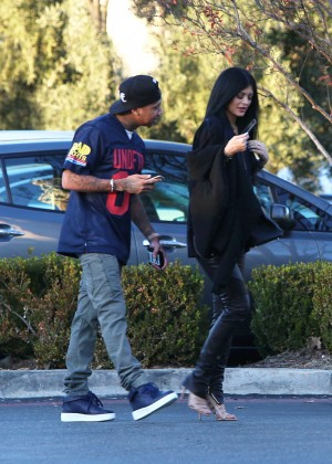 Kylie Jenner in Leather - Out for Lunch in Calabasas
