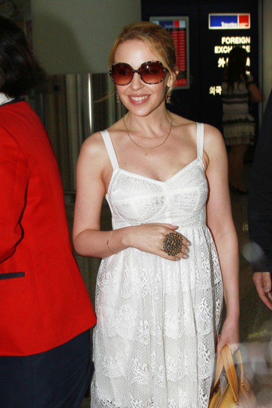 Kylie Minogue Candids at Hong Kong International Airport