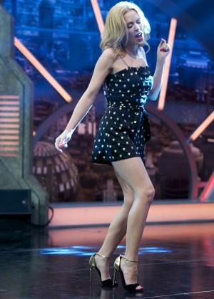 Kylie Minogue in Mini Dress at El Hormiguero Show in Madrid