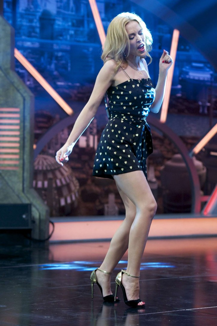 Kylie Minogue in Mini Dress at El Hormiguero Show in Madrid