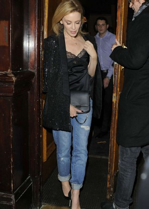 Kylie Minogue in Jeans - Leaves The Guinea Grill Pub in London
