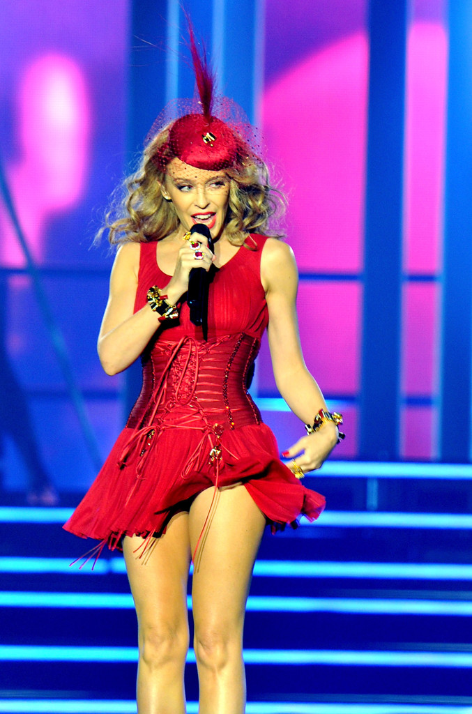 Kylie Minogue In Red Dress Performs In Liverpool 02