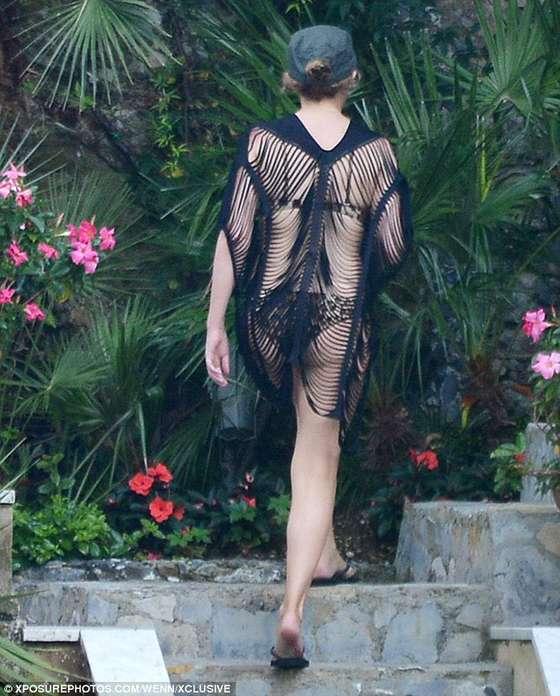 Kylie Minogue Wearing Leopard Print Swimsuits in Portofino