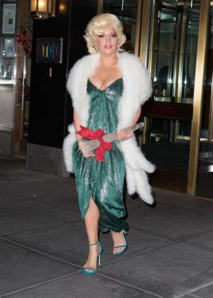 Lady Gaga in Green Dress out in New York