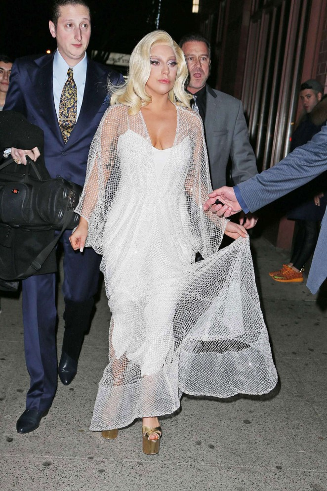 Lady Gaga in Long White Dress Out on Times Square