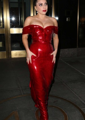 Lady Gaga in Red Dress out in New York City
