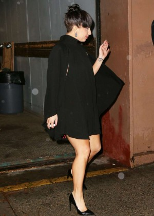Lady Gaga in Mini Dress - Leaves her Apartment in NYC